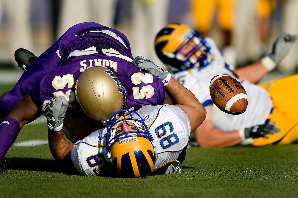 Delaware tight end Robbie Agnone fumbles the ball as he is sacked by James Madison's Arthur Moats during first quarter action against James Madison University in Harrisonburg on Saturday.  JMU won the game 41-7.