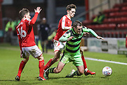 Forest Green Rovers Lee Collins(5) is brought down during the EFL Sky Bet League 2 match between Crewe Alexandra and Forest Green Rovers at Alexandra Stadium, Crewe, England on 20 March 2018. Picture by Shane Healey.