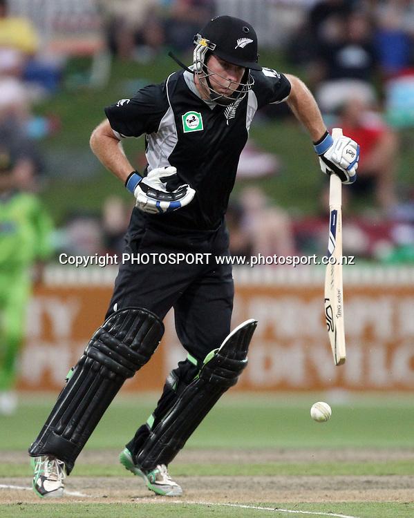 Jamie How batting during the 5th ODI, Black Caps v Pakistan, One Day International Cricket. Seddon Park, Hamilton, New Zealand. Wednesday 3 February 2011. Photo: Andrew Cornaga/photosport.c