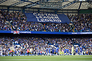 Chelsea fans show a banner before kick off during the Premier League match between Chelsea and Sunderland at Stamford Bridge, London, England on 21 May 2017. Photo by Andy Walter.