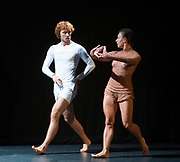 FranceDance UK launch event – a festival bringing top French contemporary dance to nine cities across the UK<br /> At Institut français, London Great Britain <br /> 10th July 2019 <br /> <br /> To mark the launch of FranceDance UK, French dance collective (La) Horde, best known for their collaboration with electro-pop sensation Chris (formerly known as Christine and the Queens) perform at the Institut français. <br /> <br /> <br /> Dancers for Emanuel Gat Dance:<br /> Thomas Bradley, <br /> Michael Loehr,<br /> Karolina Szymura<br /> + Emanuel Gat<br /> <br /> Photograph by Elliott Franks