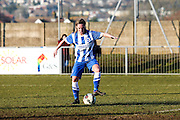 Charlotte Gurr action portrait taken during the FA Women's Sussex Challenge Cup semi-final match between Brighton Ladies and Hassocks Ladies FC at Culver Road, Lancing, United Kingdom on 15 February 2015. Photo by Geoff Penn.