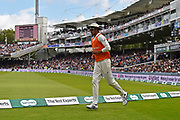 Mitchell Starc of Australia outside the bounday edge on drink and towel duties during the International Test Match 2019 match between England and Australia at Lord's Cricket Ground, St John's Wood, United Kingdom on 18 August 2019.