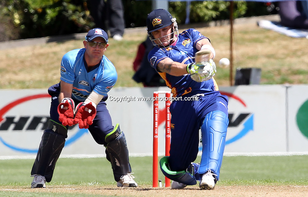 Brendon McCullum in action for the Volts.<br /> Twenty20 Cricket - HRV Cup, Otago Volts v Auckland Aces, 15 January 2012, University Oval, Dunedin, New Zealand.<br /> Photo: Rob Jefferies / photosport.co.nz