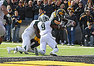 November 12, 2011: Iowa Hawkeyes wide receiver Marvin McNutt (7) reaches across the goal line with the ball as he is hit by Michigan State Spartans safety Isaiah Lewis (9) for a 3 yard touchdown during the second half of the NCAA football game between the Michigan State Spartans and the Iowa Hawkeyes at Kinnick Stadium in Iowa City, Iowa on Saturday, November 12, 2011. Michigan State defeated Iowa 37-21.