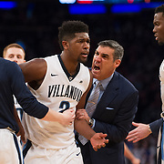 March 11, 2017:  Villanova Wildcats head coach Jay Wright gets very animated as he reacts to Villanova Wildcats forward Kris Jenkins (2) as The Cats pull away in the first half at The 35th Big East Tournament during the game between The Villanova Wildcats and The Creighton Bluejays at Madison Square Garden, New York, New York. Mandatory credit: Kostas Lymperopoulos/CSM (Credit Image: © Kostas Lymperopoulos/Cal Sport Media)