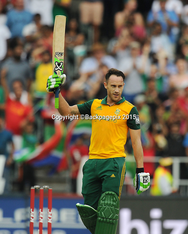 Faf Du Pleases of South Africa celebrates his 100 run during the 2015 KFC T20 International Series match between South Africa and West Indies at Wanderers, Johannesburg on the 11 January 2015  ©Muzi Ntombela/BackpagePix