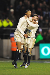 Danny Care (R-England) is congratulated by Delon Armitage (England) on scoring a try during the RBS 6 Nations Championship match between England and Wales at Twickenham Stadium on February 6, 2010 in London, England.