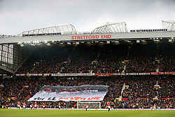 11 February 2017 - Premier League - Manchester United v Watford - A banner in tribute to the victims of the Munich Air Disaster is displayed at the Stratford End of Old Trafford - Photo: Marc Atkins / Offside.