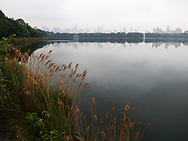 A misty new york skyline over  the Reservoir in Central Park