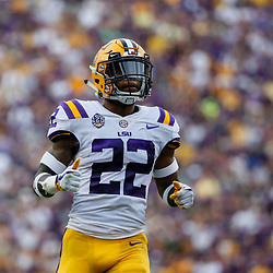 Sep 8, 2018; Baton Rouge, LA, USA; LSU Tigers cornerback Kristian Fulton (22) against the Southeastern Louisiana Lions during the first quarter of a game at Tiger Stadium. Mandatory Credit: Derick E. Hingle-USA TODAY Sports