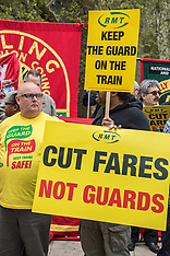 25 Apr 2018 - The RMT union hold 'keep guards on trains' protest at Parliament.