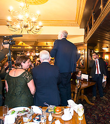 © Licensed to London News Pictures. 12/09/2015. London, UK. Jeremy Corbyn addressing supporters at the bar in the sanctuary Arms pub in Westminster following  The announcement of the new leader of the Labour Party at the QEII centre in Westminster, London on September 12, 2015. Former leader ED Miliband resigned after a heavy defeat at the last election. Photo credit: Ben Cawthra/LNP