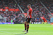 Pierre-Emile Hojbjerg (23) of Southampton complains to the linesman about offside for the Ross Barkley (8) of Chelsea goal which made the score 0-2 during the Premier League match between Southampton and Chelsea at the St Mary's Stadium, Southampton, England on 7 October 2018.
