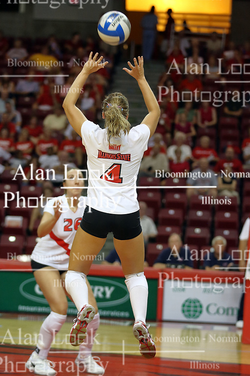 21 September 2007:  Kari Staehlin prepares for the set by Erin Lindsey. The Wichita State Shockers bested the the Illinois State Redbirds on the floor of Doug Collins Court in Redbird Arena on the campus of Illinois State University in Normal Illinois taking the match in three games.