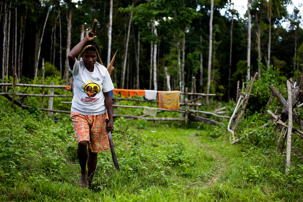 Ribka Maware, a resident of the village of Sisik, Papua, Indonesia, which is near the 22,000 hectare palm oil plantation of the Sinarmas Group which employs 11,000 workers. The Sinarmas Group has plans for a 20,000 hectare expansion of the palm oil plantation on Sisik land, but it is opposed by local residents because the project will destroy the rainforest that feeds them, Sept. 3, 2008..Daniel Beltra/Greenpeace
