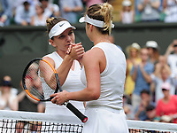 Tennis - 2019 Wimbledon Championships - Week Two, Thursday (Day Ten)<br /> <br /> Women's Singles, Semi-Final: Elina Svitolina (UKR) vs. Simona Halep (ROU)<br /> <br /> Halep at the net with Elina after winning the match, on Centre Court.<br /> <br /> COLORSPORT/ANDREW COWIE
