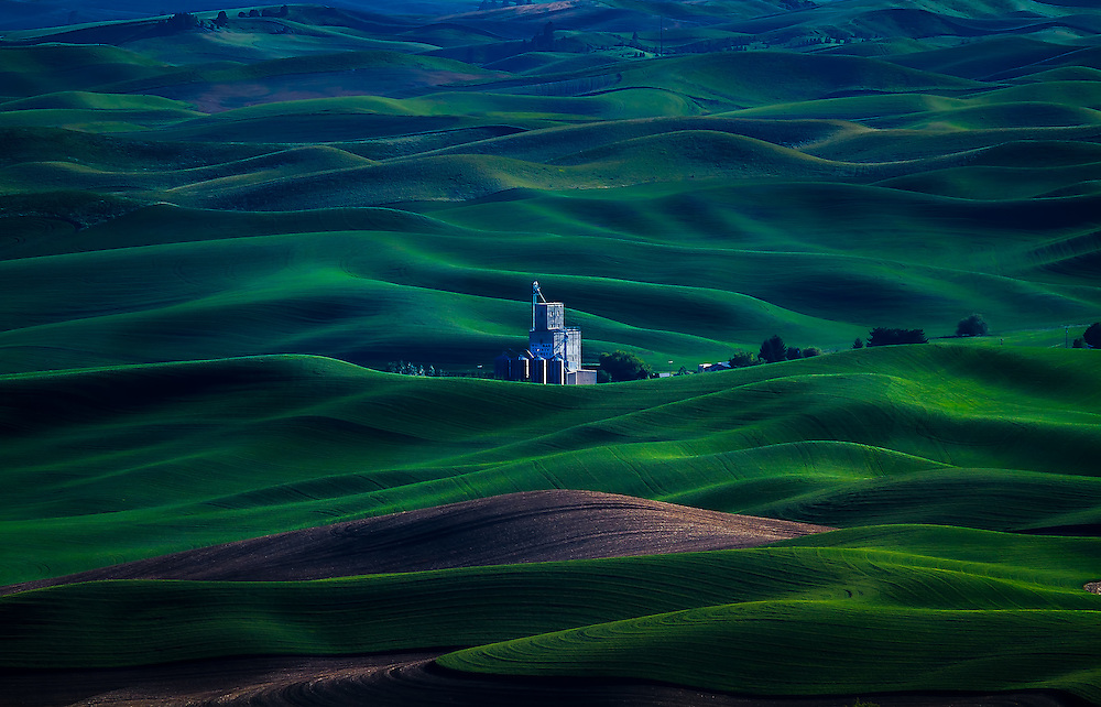 The rolling green hills of the Palouse Region in Eastern Washington provide endless views from Steptoe Butte.  Here a loan grain storage center sits among the flowing green country hillside.