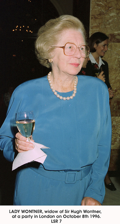 LADY WONTNER, widow of Sir Hugh Wontner,  at a party in London on October 8th 1996.LSR 7