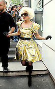 09.SEPTEMBER.2009 - PARIS<br /> <br /> LADY GAGA OUT AND ABOUT IN PARIS WEARING A GOLD DRESS.<br /> <br /> BYLINE: EDBIMAGEARCHIVE.COM<br /> <br /> *THIS IMAGE IS STRICTLY FOR UK NEWSPAPERS & MAGAZINES ONLY*<br /> *FOR WORLDWIDE SALES & WEB USE PLEASE CONTACT EDBIMAGEARCHIVE - 0208 954 5968*