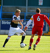 Forthbank, Stirling, 22/09/2007<br /> Dundee's Kevin McDonald takes on Stirling's Chris Aitken
