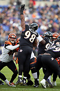 Baltimore Ravens defensive end Brandon Williams (98) leaps while trying to block a kick during the NFL week 11 regular season football game against the Cincinnati Bengals on Sunday, Nov. 18, 2018 in Baltimore. The Ravens won the game 24-21. (©Paul Anthony Spinelli)