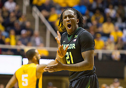 Feb 6, 2016; Morgantown, WV, USA; Baylor Bears forward Taurean Prince (21) reacts to a call during the first half against the West Virginia Mountaineers at the WVU Coliseum. Mandatory Credit: Ben Queen-USA TODAY Sports