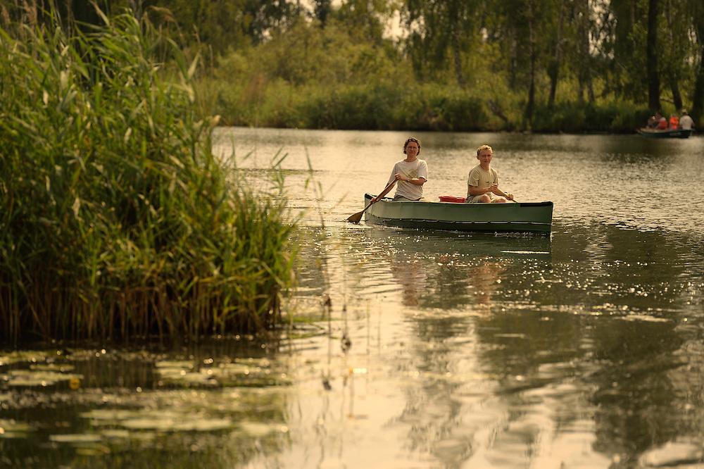 canoe on the Peene river, Anklam, Germany