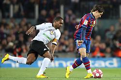 14-03-2010 VOETBAL: BARCELONA - VALENCIA: BARCELONA<br /> Barcelona's player Bojan Krkic (R) and Valencia's  Miguel (l)<br /> ©2010- nph / Alterphotos<br /> <br />  *** Local Caption *** Fotos sind ohne vorherigen schriftliche Zustimmung ausschliesslich für redaktionelle Publikationszwecke zu verwenden.