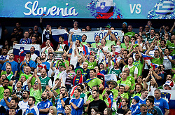 Supporters of Slovenia during basketball match between National Teams of Slovenia and Greece at Day 4 of the FIBA EuroBasket 2017 at Hartwall Arena in Helsinki, Finland on September 3, 2017. Photo by Vid Ponikvar / Sportida