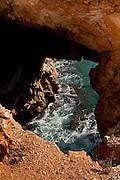 Holes in the rocks of Moraig Beach surroundings. Benitachell village, Alicante province, Costa Blanca, Spain, Europe.
