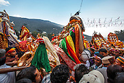 Deities at Dhalpur ground for Kullu Dusshera. Kullu Dussehra is the Dussehra festival observed in the month of October in Himachal Pradesh state in northern India. It is celebrated in the Dhalpur maidan in the Kullu valley. Dussehra at Kullu commences on the tenth day of the rising moon, i.e. on 'Vijay Dashmi' day itself and continues for seven days. Its history dates back to the 17th century when local King Jagat Singh installed an idol of Raghunath on his throne as a mark of penance. After this, god Raghunath was declared as the ruling deity of the Valley.