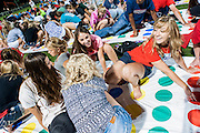 New students try to play the biggest ever game of Twister during the 2013 New Student Orientation weekend<br />