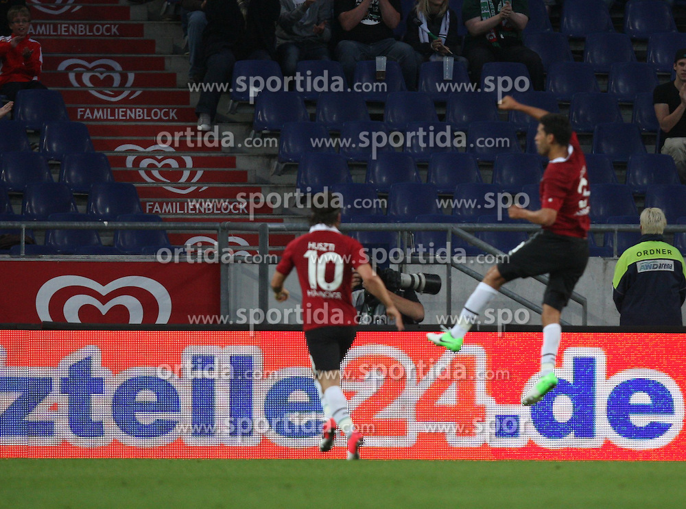 FootballL: Europa League, Qualification, Hannover 96 - St. Patricks Athletic, Hannover, 09.08.2012..Karim Haggui (Hannover, r.) celebrates scoring first goal..© pixathlon