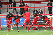 Accrington players warmup during the EFL Sky Bet League 2 match between Accrington Stanley and Mansfield Town at the Fraser Eagle Stadium, Accrington, England on 19 August 2017. Photo by John Potts.