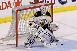 June 10, 2011; Vancouver, BC, CANADA; Boston Bruins goalie Tim Thomas (30) warms up before game five of the 2011 Stanley Cup Finals against the Vancouver Canucks at Rogers Arena. Vancouver defeated Boston 1-0. Mandatory Credit: Jason O. Watson / US PRESSWIRE