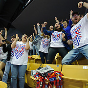 Kris Wilson/News Tribune<br /> The Seneca Indians cheering section erupts as wrestler Dalton Hembree records the win by fall over Marceline's Dylan Wheeler in the Class 1 120-pound championship match during the 2016 MSHSAA Wrestling State Championships at Mizzou Arena in Columbia. Several of Hembree's family and friends, including mother Jennifer Hembree, front row in glasses, were in attendance to lend their very vocal support to their newly-crowned state champion.