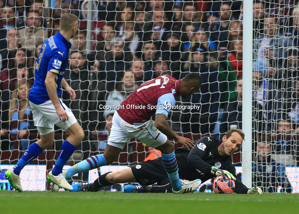 15th February 2015 - FA Cup 5th Round - Aston Villa v Leicester City - Mark Schwarzer of Leicester City saves at the feet of Leandro Bacuna of Aston Villa - Photo: Paul Roberts / Offside.