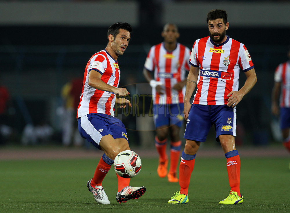 Atletico de Kolkata captain Luis Javier Garcia Sanz on the attack during match 7 of the Hero Indian Super League between Atletico de Kolkata and Delhi Dynamos held at the Salt Lake Stadium in Kolkata, West Bengal, India on the 19th October 2014.<br /> <br /> Photo by:  Vipin Pawar/ ISL/ SPORTZPICS