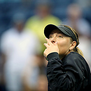 2017 U.S. Open Tennis Tournament - DAY THREE.  Maria Sharapova of Russia hits ball into the crowd after her win against Timea Babos of Hungary during the Women's Singles round two match at the US Open Tennis Tournament at the USTA Billie Jean King National Tennis Center on August 30, 2017 in Flushing, Queens, New York City.  (Photo by Tim Clayton/Corbis via Getty Images)