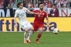 29.03.2014, Allianz Arena, Muenchen, GER, 1. FBL, FC Bayern Muenchen vs TSG 1899 Hoffenheim, 28. Runde, im Bild l-r: im Zweikampf, Aktion, mit Sebastian Rudy #6 (TSG 1899 Hoffenheim) und Diego Contento #26 (FC Bayern Muenchen) // during the German Bundesliga 28th round match between FC Bayern Munich and TSG 1899 Hoffenheim at the Allianz Arena in Muenchen, Germany on 2014/03/29. EXPA Pictures © 2014, PhotoCredit: EXPA/ Eibner-Pressefoto/ Kolbert<br /> <br /> *****ATTENTION - OUT of GER*****