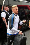 Kasper Schmeichel (1) Goalkeeper of Leicester City gets off the team bus on arrival for the Premier League match between Bournemouth and Leicester City at the Vitality Stadium, Bournemouth, England on 30 September 2017. Photo by Graham Hunt.