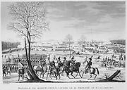 Battle of Hohenlinden, 3 December 1800. French under  General Jean Moreau victorious agaist Austria under Archduke John. Copperplate engraving.