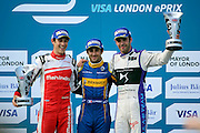 Renault E.Dams driver, Nico Prost and celebrating with Mahindra Racing driver, Bruno Senna and DS Virgin Racing driver, Jean-Eric Vergne during Round 9 of Formula E, Battersea Park, London, United Kingdom on 2 July 2016. Photo by Matthew Redman.