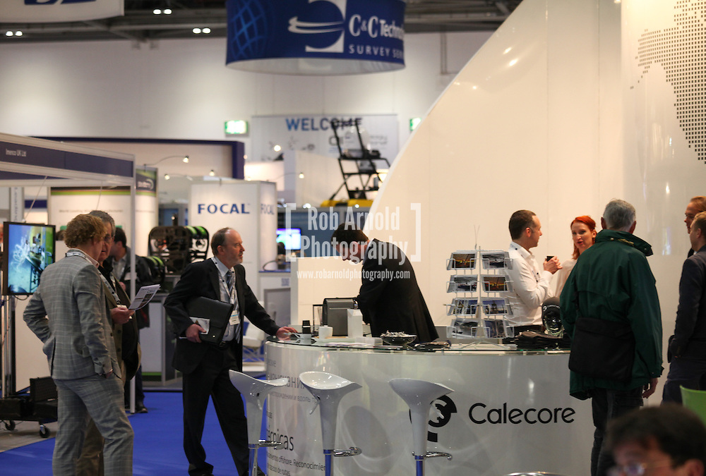 © Rob Arnold 11/03/2014. London, UK. The Calecore stand at Oceanology International (OI), the world's largest exhibition for marine science and technology held at London's ExCeL Centre. The three day exhibition provides an opportunity for industry, academic and government organisations to share knowledge and promote improvements in technology and strategy used for operating, surveying, protecting and exploiting resources in the oceans of the world. Photo Credit : Rob Arnold
