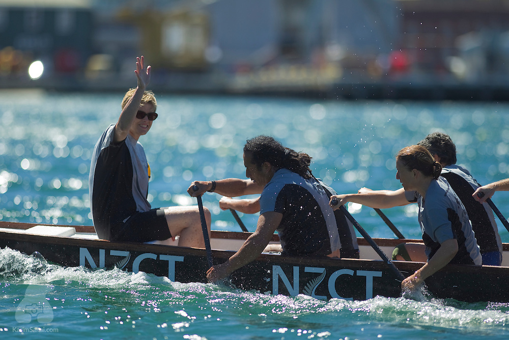 Corporate teams compete on the first day of the 2010 Dragon Boat festival, in the Wellington Harbour, on February 27 2010.<br /> <br /> The second part of the competition due to occur on February 28, was cancelled due to the issuance of a tsunami warning following an 8.0 Richter-scale earthquake in Chile