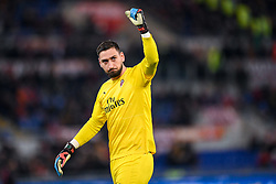 February 3, 2019 - Rome, Rome, Italy - Gianluigi Donnarumma of Milan celebrates during the Serie A match between Roma and AC Milan at Stadio Olimpico, Rome, Italy on 3 February 2019. (Credit Image: © Giuseppe Maffia/NurPhoto via ZUMA Press)