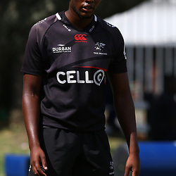 DURBAN, SOUTH AFRICA - JANUARY 19: Kwanda Dimaza during the Cell C Sharks training session at Growthpoint Kings Park on January 19, 2018 in Durban, South Africa. (Photo by Steve Haag/Gallo Images)