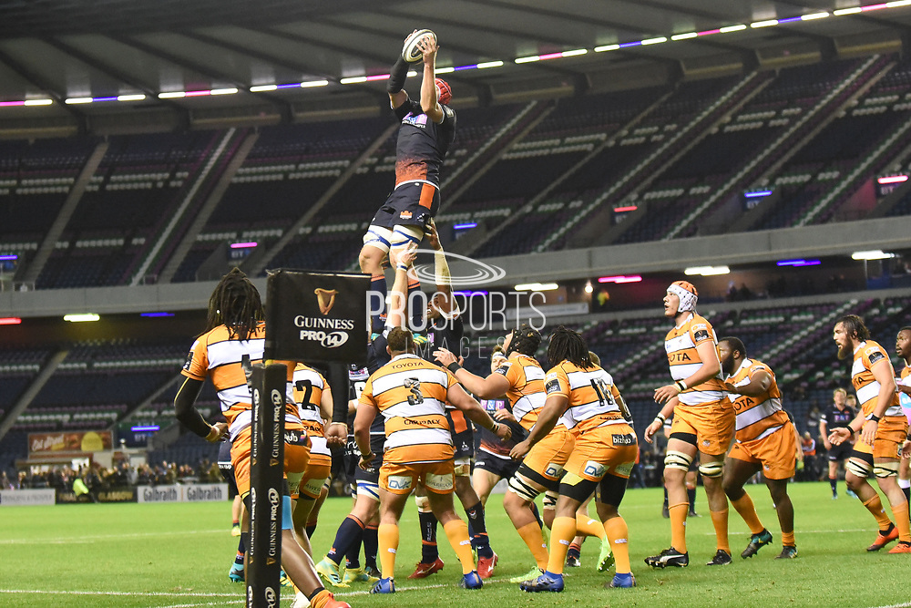 Grant Gilchrist takes lineout ball during the Guinness Pro 14 2018_19 match between Edinburgh Rugby and Toyota Cheetahs at BT Murrayfield Stadium, Edinburgh, Scotland on 5 October 2018.