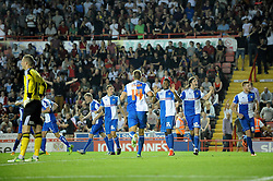 Bristol Rovers' celebrate their goal. GOAL CELEBRATIONS.   - Photo mandatory by-line: Dougie Allward/JMP - Tel: Mobile: 07966 386802 04/09/2013 - SPORT - FOOTBALL -  Ashton Gate - Bristol - Bristol City V Bristol Rovers - Johnstone Paint Trophy - First Round - Bristol Derby